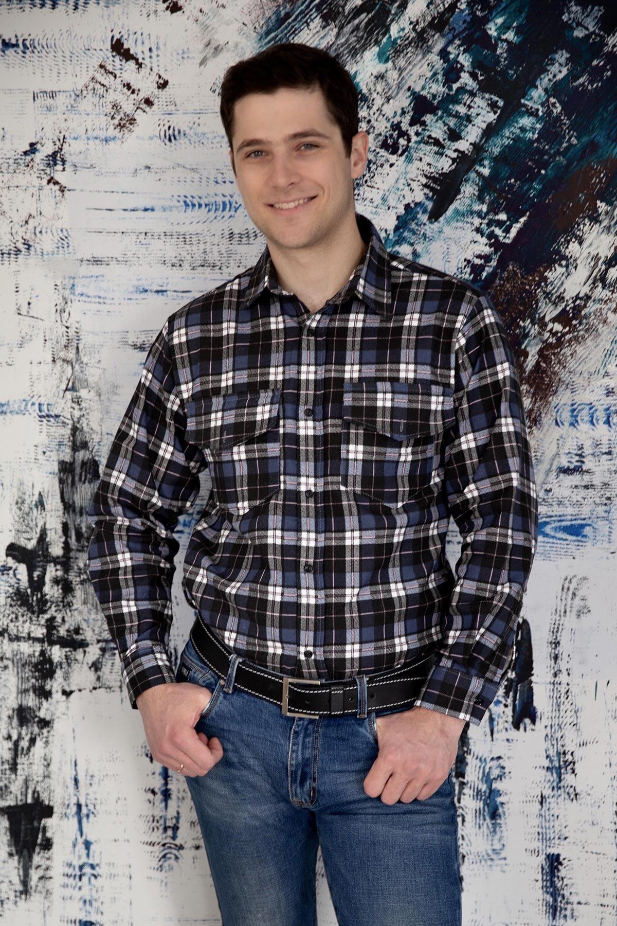 Муж. рубашка арт. 18-1093 Синий р. 54