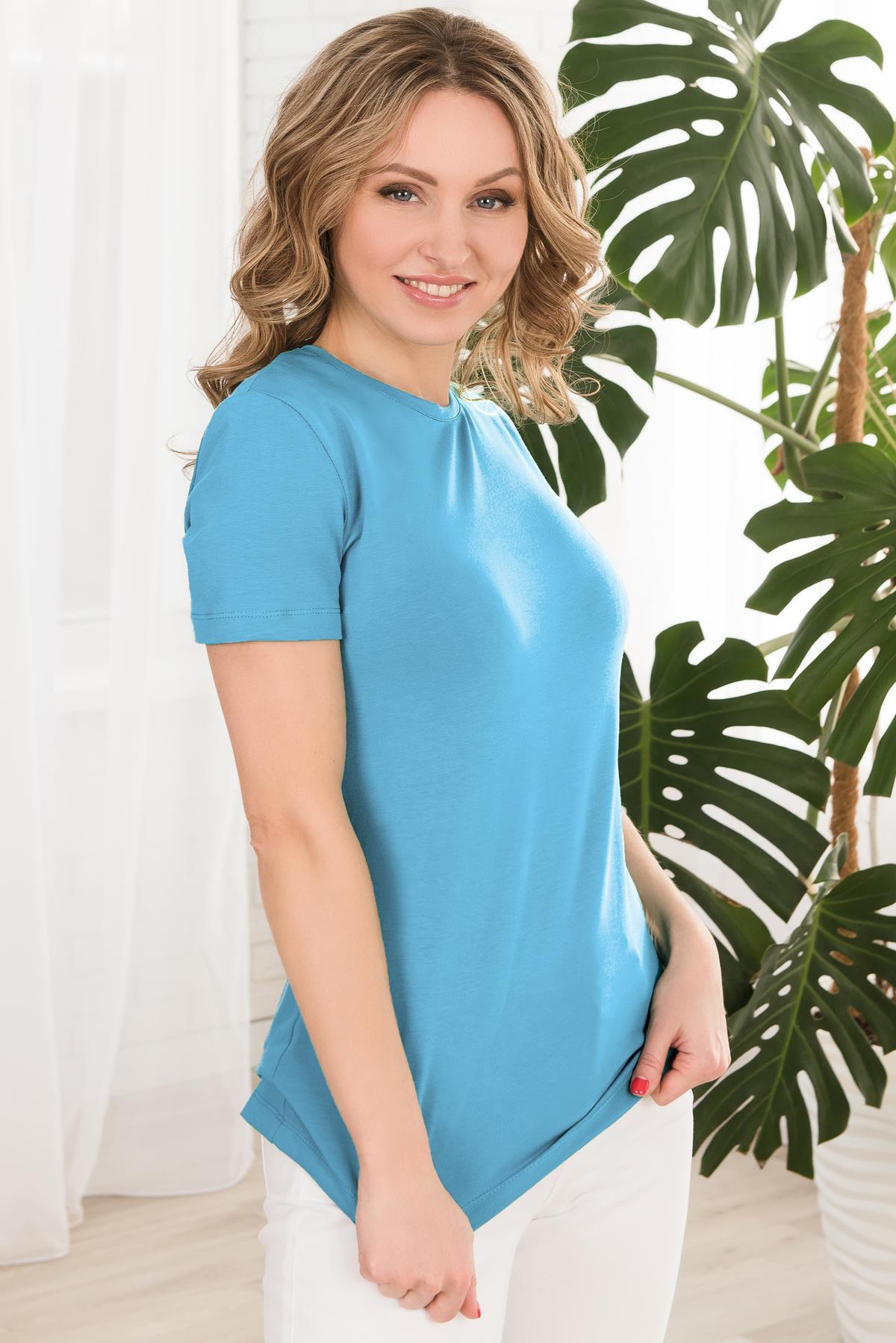 Жен. футболка арт. 19-0610 Голубой р. 52 Шарлиз