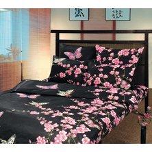 """Комплект постельного белья """"Сакура"""" на черном"""