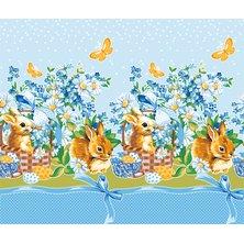 """Вафельное полотенце """"Пасхальный кролик"""" голубое"""