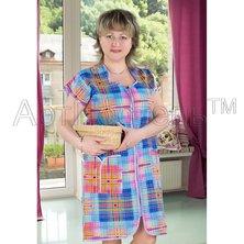 """Женский халат """"Шотландка в синем"""" на молнии"""