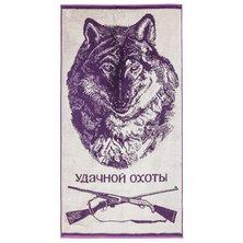 """Полотенце """"Удачной охоты"""" Сиреневый р. 70х140"""