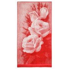 """Полотенце """"Розы 3D"""" Красный р. 70х140"""
