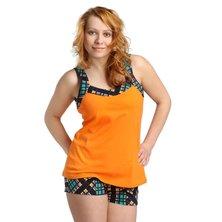 Жен. костюм арт. 16-0170 Зелено-оранжевый р. 44