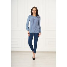 Жен. блуза арт. 19-0073 Синий р. 42