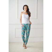 Жен. брюки арт. 19-0092 Цветы р. 42