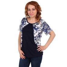 Жен. блуза арт. 16-0105 Синий р. 48