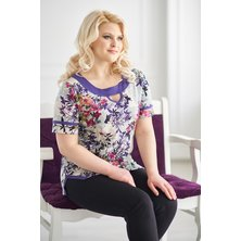 Жен. блуза арт. 19-0146 Фиолетовый р. 48