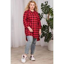 Туника-рубашка женская арт. 19-0063 Красный