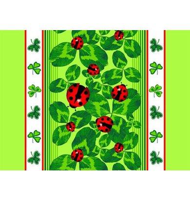 """Вафельное полотенце """"Божьи коровки"""" зеленый"""