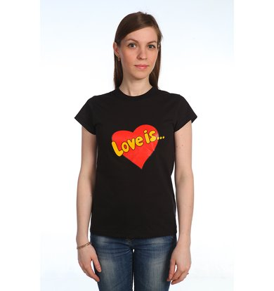 """Женская футболка """"Love is"""" Черный"""