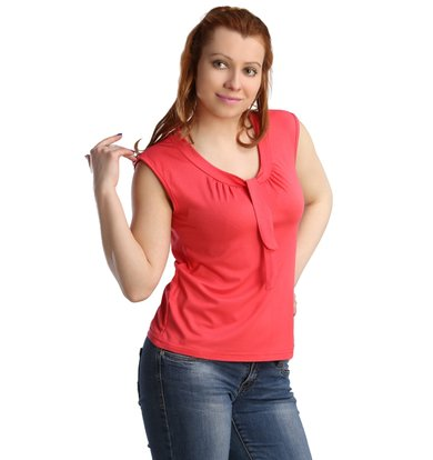 Жен. блуза арт. 16-0123 Коралловый р. 44