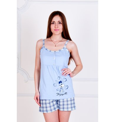 "Жен. пижама ""Зайка"" Голубой р. 40"