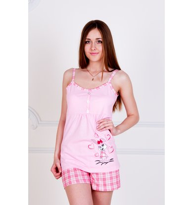 "Жен. пижама ""Зайка"" Розовый р. 40"