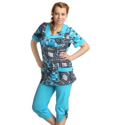 Жен. костюм арт. 16-0151 Бирюзовый р. 64