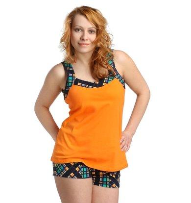Жен. костюм арт. 16-0170 Зелено-оранжевый р. 54