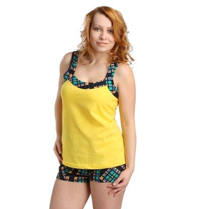 Жен. костюм арт. 16-0170 Зелено-желтый р. 52