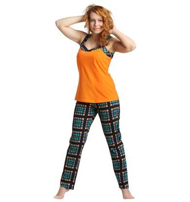 Жен. костюм арт. 16-0171 Зелено-оранжевый р. 54
