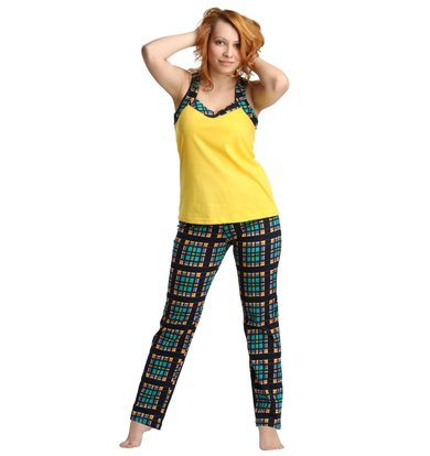 Жен. костюм арт. 16-0171 Зелено-желтый р. 54