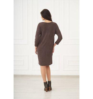 Жен. платье арт. 19-0075 Шоколадный р. 44