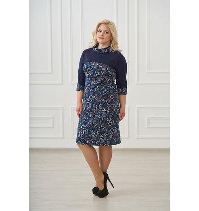 Жен. платье арт. 19-0109 Темно-синий р. 56