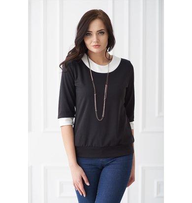 Жен. блуза арт. 19-0126 Черный р. 56