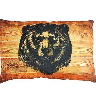 """Подушка """"Картина на дереве Медведь"""" р. 35х55"""