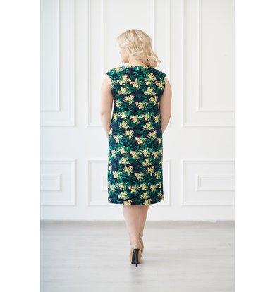 Жен. платье арт. 19-0138 Желто-изумрудный р. 54