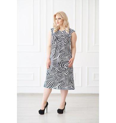 Жен. платье арт. 19-0138 Черно-белый р. 56