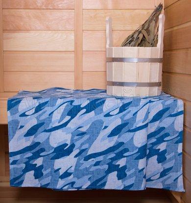 """Вафельное полотенце """"Камуфляж"""" Синий р. 50х70"""
