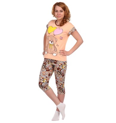Жен. костюм арт. 16-0334 Персиковый р. 54