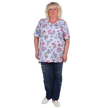 Жен. блуза арт. 16-0373 Голубой р. 50