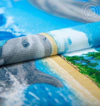 """Вафельное полотенце """"Игривые дельфины"""" Голубой р. 80х150"""