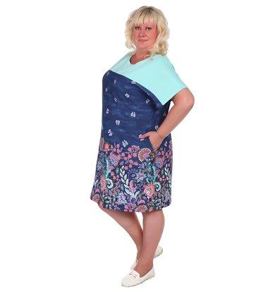 Жен. платье арт. 16-0387 Синий р. 70