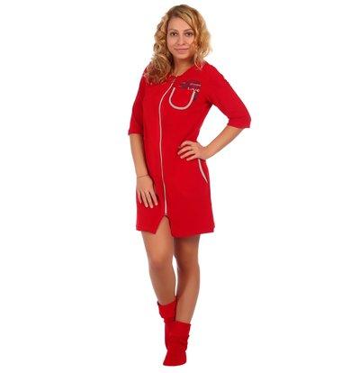 Жен. халат арт. 16-0407 Красный р. 48