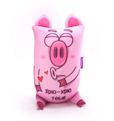 """Игрушка-подушка """"Хрюндель, Хрю-хрю тебя!"""" Розовый р. 17х30"""