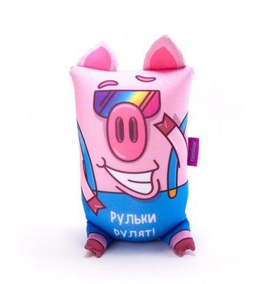 """Игрушка-подушка """"Хрюндель, Рульки рулят!"""" Розовый р. 17х30"""