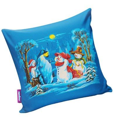 "Подушка ""Мадам снеговик"" Голубой р. 29х29"
