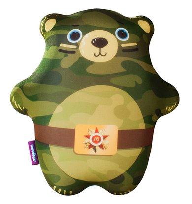 "Игрушка-подушка ""Мишка солдат"" Зеленый р. 28х25"