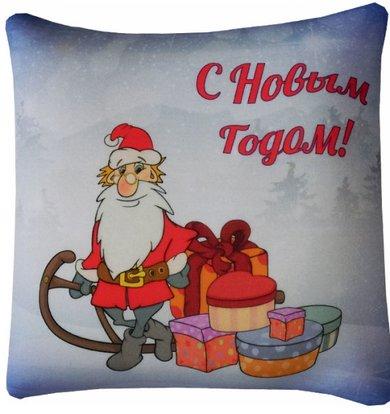 """Подушка """"Новогоднее поздравление"""" Голубой р. 30х30"""