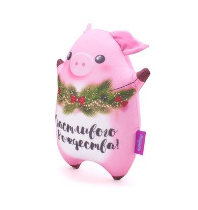 "Игрушка-подушка ""Пузатик, Счастливого рождества!"" Розовый р. 25х20"