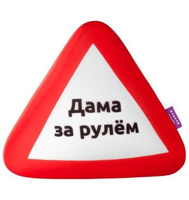 "Игрушка-подушка ""Знак ПДД, Дама за рулем"" Красный р. 31х26"
