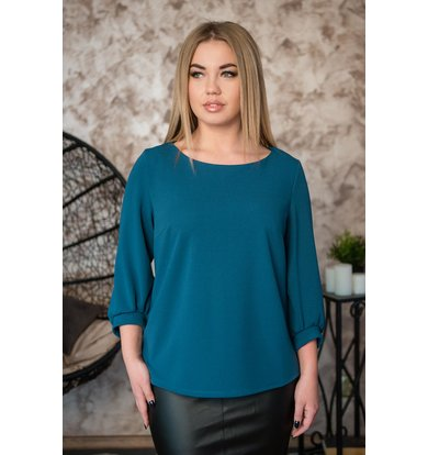 Жен. блуза арт. 19-0229 Изумрудный р. 56