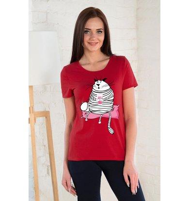 Жен. футболка арт. 19-0262 Красный р. 42
