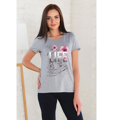 Жен. футболка арт. 19-0262 Серый р. 42