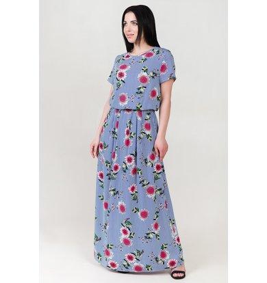 Жен. платье арт. 19-0140 Голубой р. 44