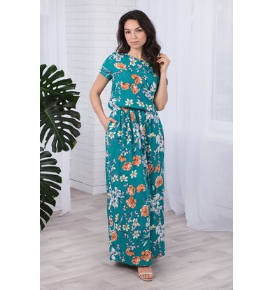 Жен. платье арт. 19-0410 Изумрудный р. 54