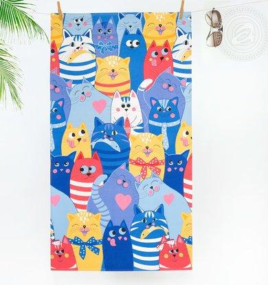 "Вафельное полотенце ""Полосатый рейс"" Синий р. 50х70"