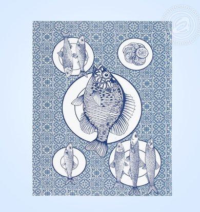 "Набор полотенец ""Богатый улов"" Синий р. 45х60"
