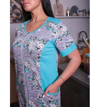 Жен. халат арт. 17-0185 Зеленый р. 50